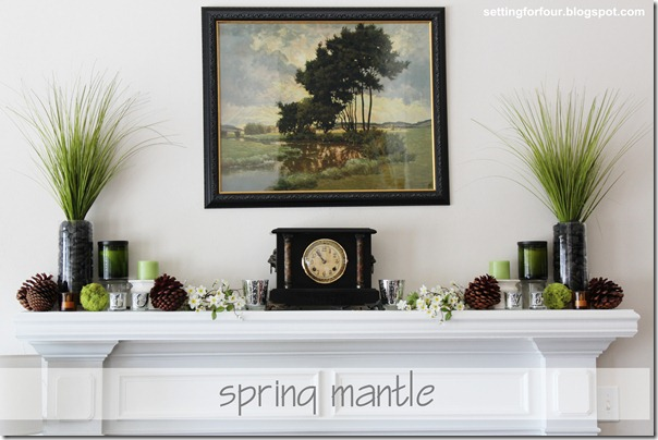 Celebrate Spring Fireplace Mantle from Setting for Four #michaels #decor  #design #mantle #mantel #spring #moss 