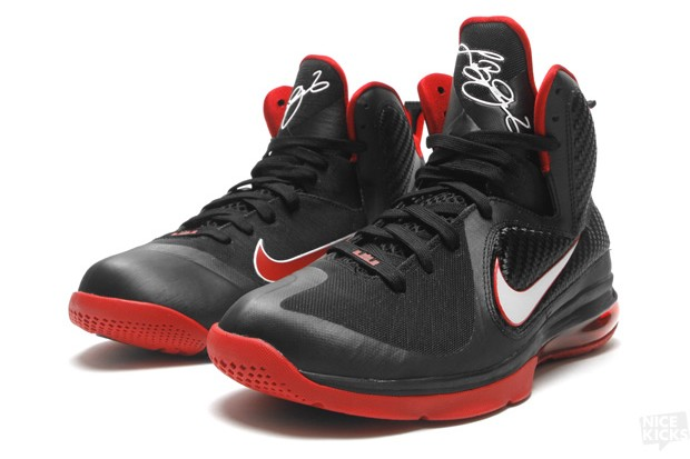 Nike LeBron 9 Miami Heat Away Sneakers (Black/White/Red)