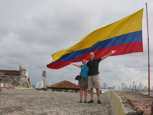 Giant Colombian flag at Castillo de San Felipe, Cartagena, Colombia