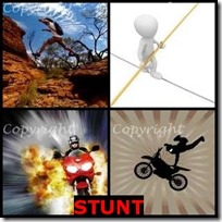 STUNT- 4 Pics 1 Word Answers 3 Letters