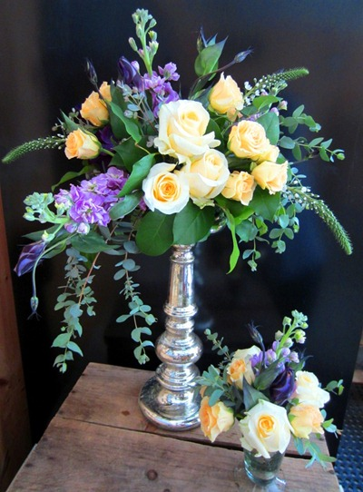 mercury glass flower arrangement