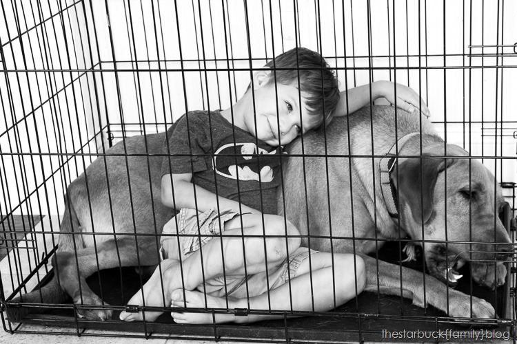 Ryan with simon in crate black and white blog-2