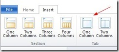 one column tab