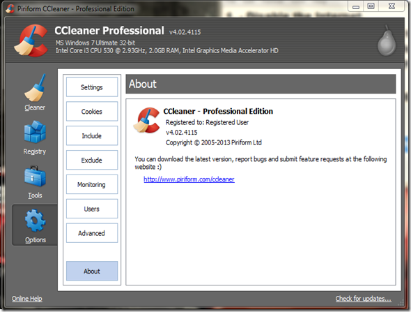 Serial ccleaner professional
