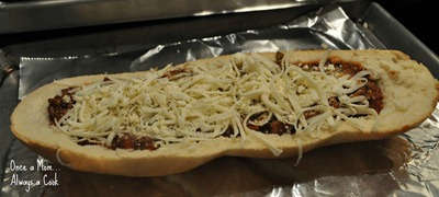 Open Faced Italian Sloppy Joe Ready for Oven