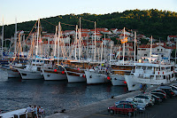 Boats lined up in port - ours was the fifth one out