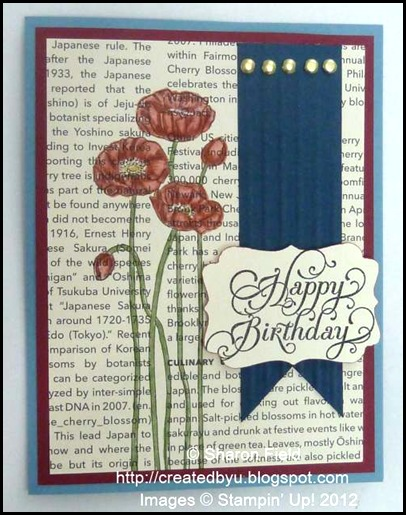 pleasant poppies along with the beautiful birthday stamp set and brads
