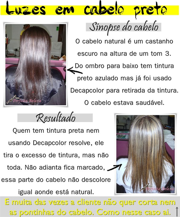 Luzes em cabelo preto