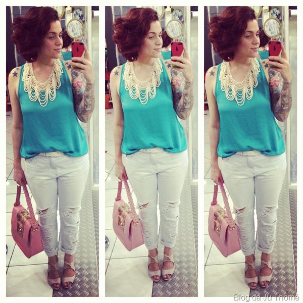 look jeans destroyed, camisa floral e blusa verde (2)