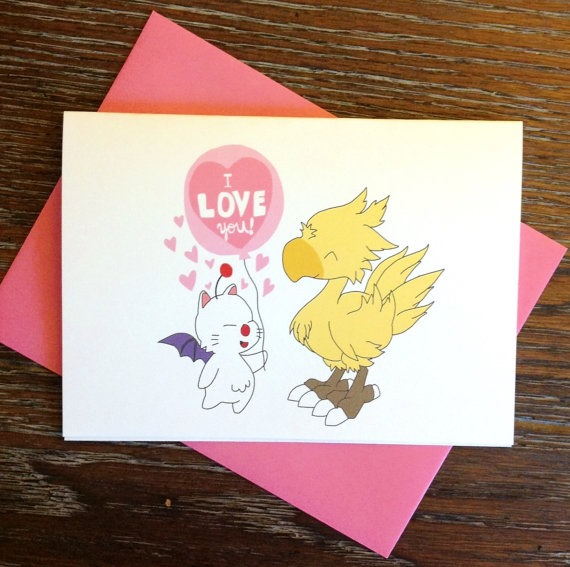 Final Fantasy Moogle and Chocobo Love Greeting Card by Turtles Soup