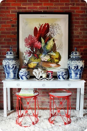 Red stools Chinoiserie
