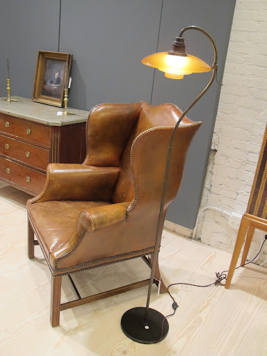 This leather wing chair is 19th Century Swedish design.