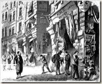 Les piliers des Halles de Paris, dans l'ancienne rue de la Tonnellerie,  Paris Ier arr., vers 1870. Gravure d'aprs Delannoy, bibliothque de la ville de Paris.