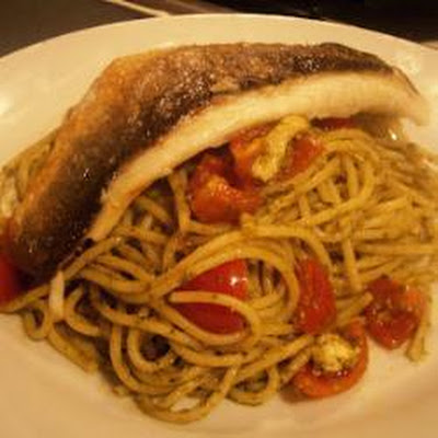 Pan-fried Sea Bass With Pesto Spaghetti