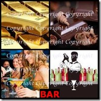 BAR- 4 Pics 1 Word Answers 3 Letters