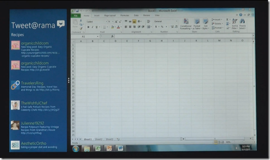 Native Html5 code side by side with Excel native application - Windows 8