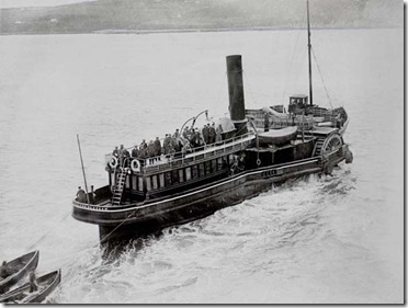Cobh tender Ireland departing from a Liner with a small number of passengers.