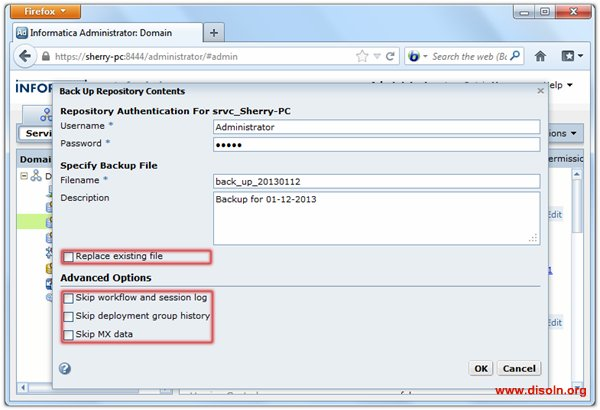 Informatica PowerCenter Repository BackUp and Restore