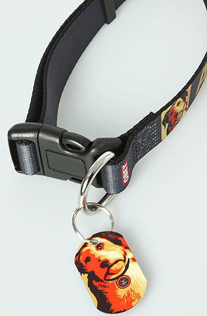 The ADOPT collars are sturdy, fully adjustable and can fit both small (not tiny) and large pooches. They have a colorful metal 'dog tag' with the image that Shepard Fairey created for  Adopt-a-Pet.com