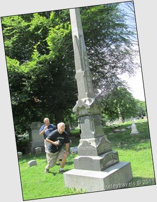 Chuck takes a look at his ancestors' marker