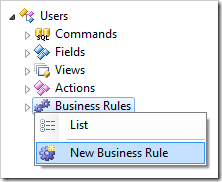 Creating a new business rule for Users data controller.