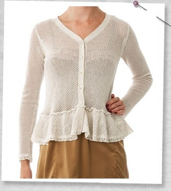 Mesh short cardigan chalk