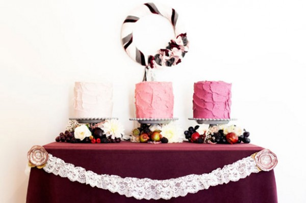 white pink magenta ombre wedding cakes
