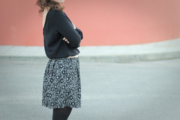 Jacquard Skirt, Open back sweater Massimo Dutti AW2012 | ExcessBaggageMode