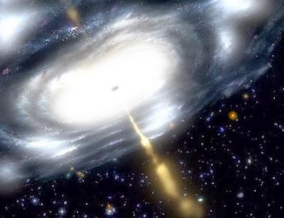 ilustração de jato emitido no centro da galáxia M87