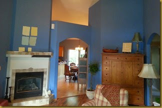 fireplace with blue walls