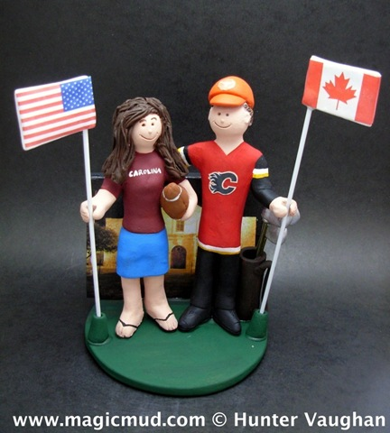 Here is a very patriotic cake topper each of the wedding couple proudly
