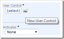 Creating a new user control using the 'New User Control' icon.