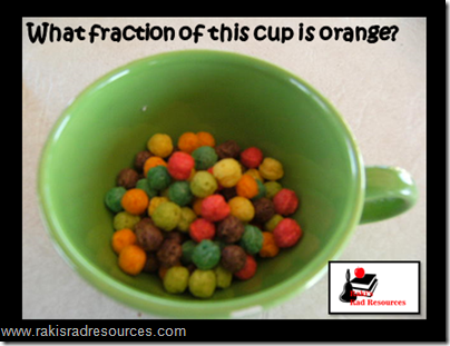 Basic math manipulatives that can be found in your kitchen.  Ideas from Raki's Rad Resources.  Colored cereal