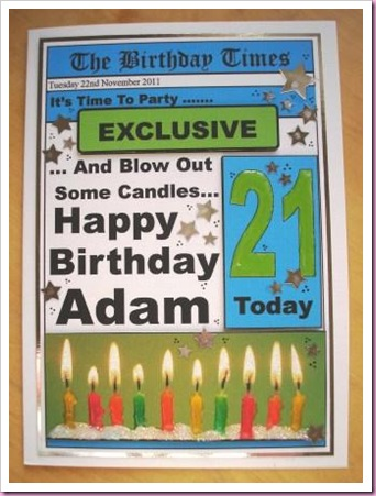 21st Birthday Newspaper Card
