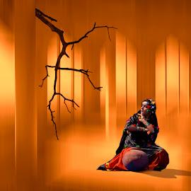 ECHO by Deep Bhatia - Digital Art People ( orange, mood, pitcher, singer, surreal, conceptual, dancer )