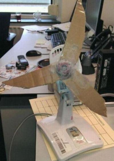 Вентилятор с бумажными лопастями