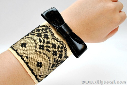 Valentino Inspired Lace Patent Bow Cuff Bracelet