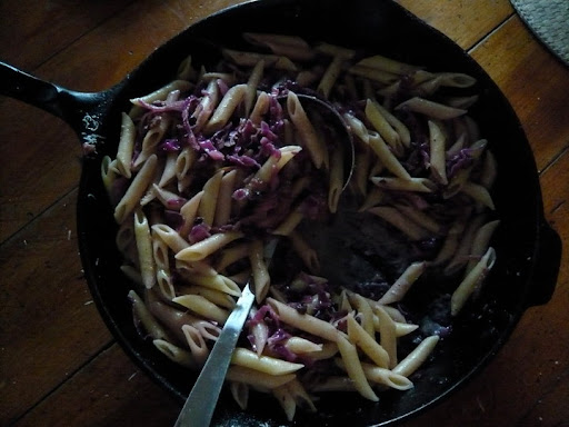 Weeknight dinner pasta. Shredded 1/2 red cabbage, onion, garlic, bacon, chili flakes, lemon rind, currants. Deglaze w/ red wine vinegar and sauce it up w/ pasta water, milk and grated Parm. Toss w/ Penne (made 2 pounds).