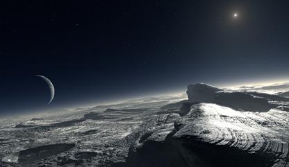 superfície de Plutão, com uma neblina atmosférica, Caronte e o Sol no céu