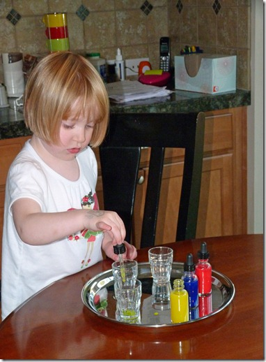 Transferring Colored Water with Eye Droppers to Make Secondary Colors at Homeschool Mo 2