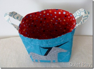 Starry red inside the fabric basket