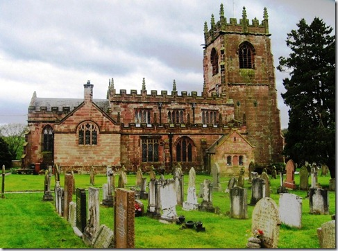 Marbury church with tombstones