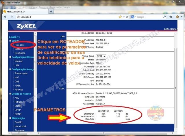 7 - Verificando os parametros da sua linha linha telefônica para saber se ela está apta para receber o sinal - Modem ADSL ZyXEL P-660R-T1 v3s, configurar e rotear para conectar automaticamente na Oi – Velox - Witian blog