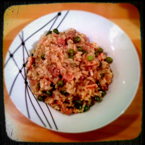 Bacon, sausage and pea risotto