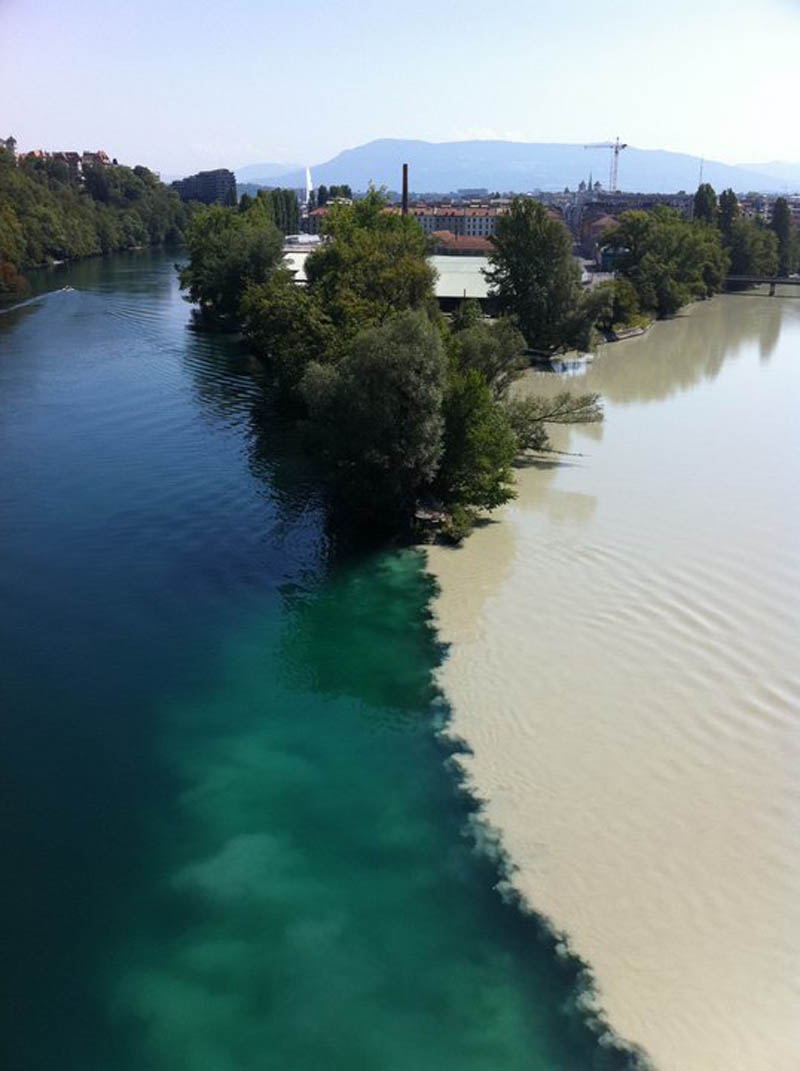 Two rivers colliding geneva switzerland rhone and arve rivers 2