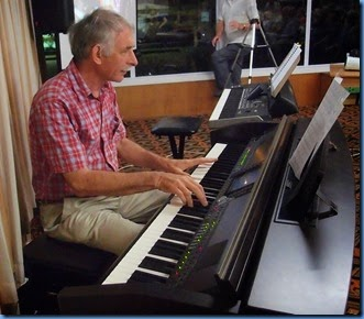 Claude Moffat playing the Clavinova CVP-509 in his semi-classical piano style -  very smooth and relaxing. Photo courtesy of Dennis Lyons.