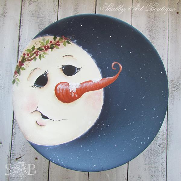 Shabby Art Boutique snowman plate 2
