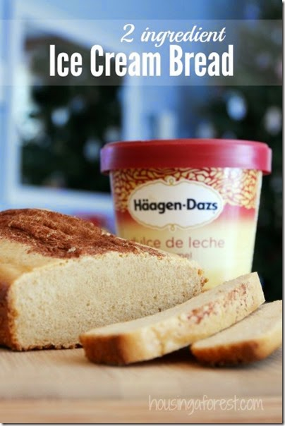 2 ingredient Ice Cream Bread Recipe - this is so simple to make; kids will love helping make this yummy bread recipe!