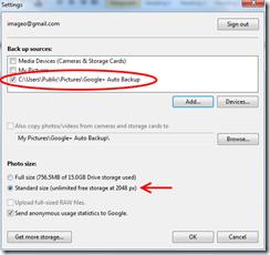 Google+ autobackup setting dialogue