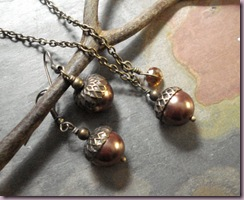 acorn necklace and earrings